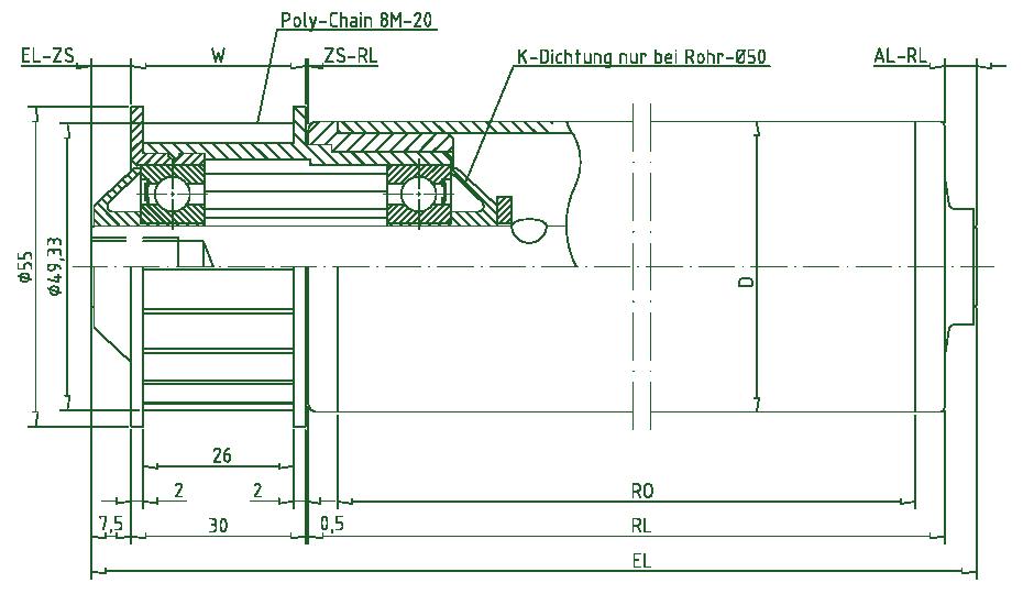 drevet transportrulle type 445 - FMG Förderelemente